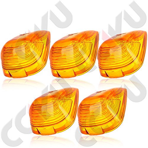 CCIYU 5 Roof Running Light Cab Marker Amber Cover Top Lamp Lens For Ford F-250 350 450 (2004 F250 Cab Lights compare prices)