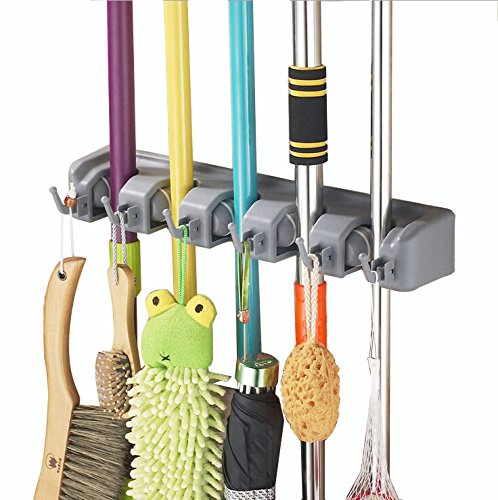 DASTAR™ Broom Mop Holder Organizer, 5 position with 6 hooks garage storage Holds up to 11 Tools (5 position) (Broom Organizer Spoga compare prices)
