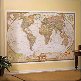 World Executive Political Atlantic-Centered Wall Mural Map