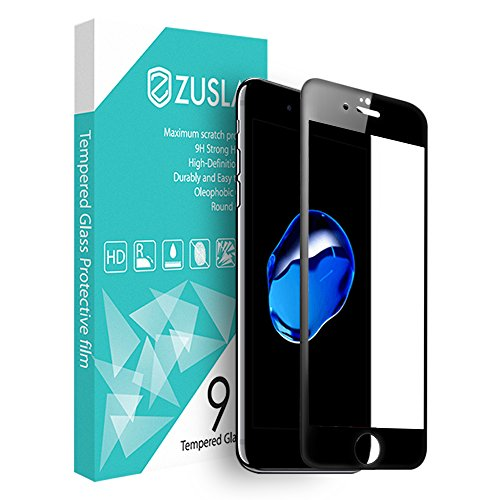 For iPhone 7 Plus [ Full Coverage Tempered Glass Screen Protector ] Zarus Zuslab For Apple Premium Tempered Glass 9H Hardness Silk Print Curved Glass [High-definition Visual] (3D Black)