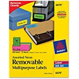 Avery Multipurpose Labels, Removable, Assorted Neon, 1 x 2.625 Inches, Pack of 360  (6479)