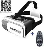 VR Versión 2.0 laserbeak VR CAJA Virtual Reality Headset gafas 3D durante 3,5 - Móvil de 6.0 pulgadas y mando inalámbrico Bluetooth (Negro)