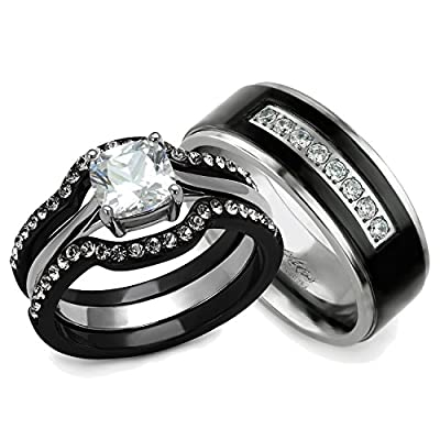 His and Hers Ring Sets - Women's Steel Rings and Men's Titanium Wedding Bands