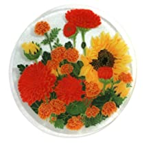 Peggy Karr Handcrafted Art Glass Autumn Garden Plate Round 11-Inch