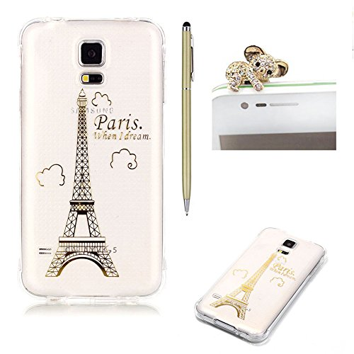 Coque Samsung Galaxy S5/S5 Neo - SKYXD Samsung Galaxy [Or Tour Eiffel à Paris] Housse Etui TPU Silicone Clair Transparente Ultra Mince Premium