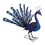 east2eden Chic Blue Gold Colourful Peacock Tail Up Garden Ornament Statue