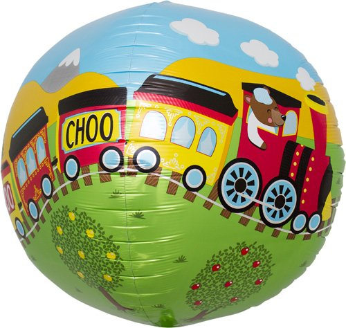 Choo Choo Train Sphere Helium Foil Balloon - 17 inch