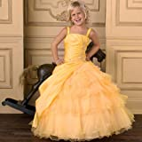 House of Wu Girls Yellow Sleeveless Pageant Flower Girl Dress 2-16