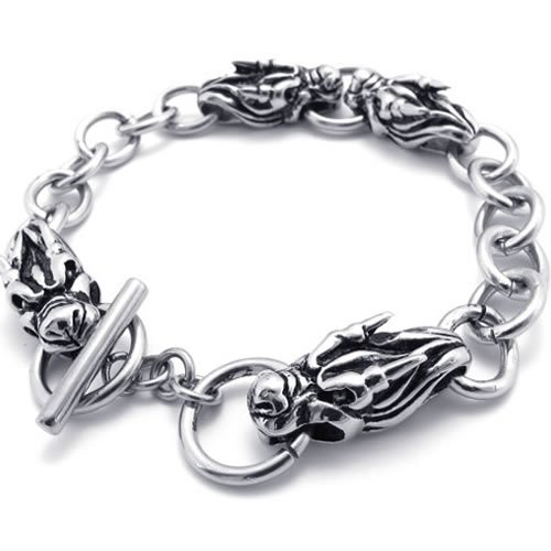 Konov Jewellery Mens Stainless Steel Dragon Bracelet, Colour Silver, Length 8 3/4 inch