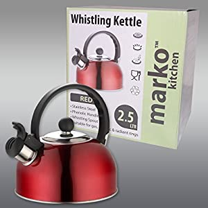 Red Whistling Kettle Electric Gas Hob Stove Camping 2.5L by Marko