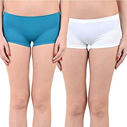 Mynte Women's Sports Shorts (MEWIWCMBP-SHR-104-101, Blue, White, Free Size, Pack of 2)