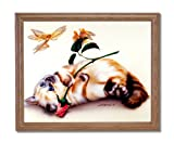 Cat Rose Butterfly Fairy Kids Room Home Decor Wall Picture Oak Framed Art Print