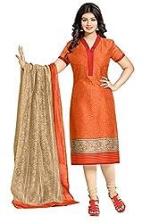Jiya Presents Cotton Chudidar Dress Material (Orange,Cream)