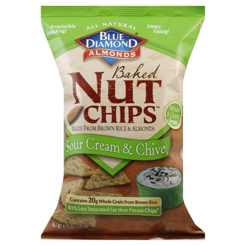 Blue Diamond Sour Cream &Chive Baked Nut Chip 4.25 OZ (Pack of 2)