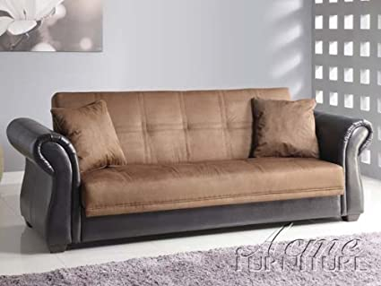 Kela Chocolate Microfiber Espresso Bycast Adjustable Sofa by Acme Furniture