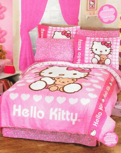 Hello Kitty Love Pink Girls Comforter Bedding Set Twin