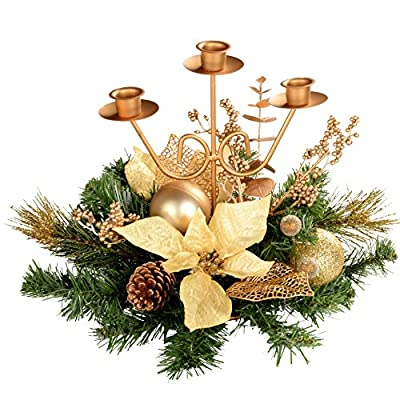 Christmas Table Triple Candle Holder Gold Decorated Centrepiece