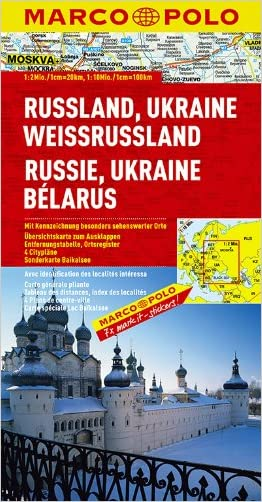Russia Ukraine Belarus Map (Marco Polo Maps)