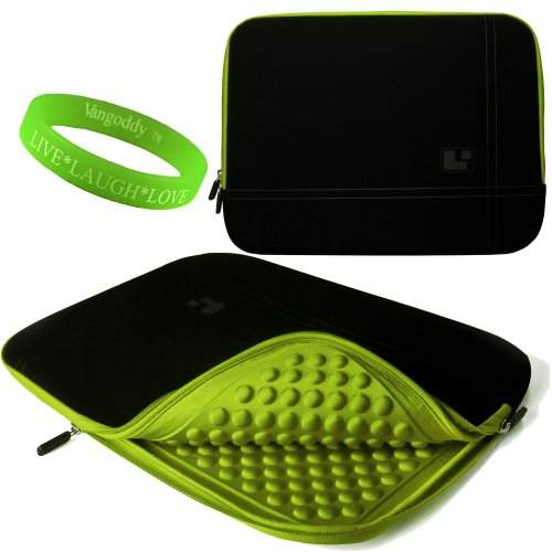 15 Inch Notebook Accessories By Sumaclife Onyx With Toxic Green Trim Drumm Neoprene Sleeve Carrying Case For Lenovo B570 15 Inch Notebooks + Vangoddy Live+Laugh+Love Wristband