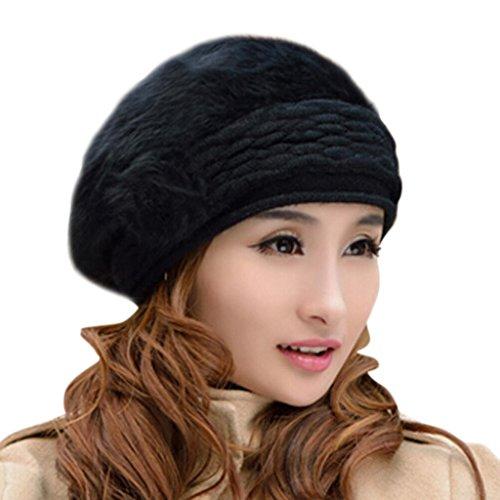 Hee Grand Women Ladies Elegant Faux Fur Wool Knit Winter Warm Hat Beanies Black