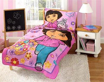 Dora Explorer Toddler Bedding Set 4 Pc Comforter Sheets Bed