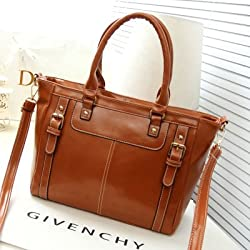 DI GRAZIA PU Leather Trapeze Shaped Shoulder Sling Womens Satchel Handbag - Light Brown