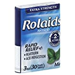 Rolaids Antacid, Extra Strength, Chewable Tablets, Mint, 3 - 10 tablet rolls 30 tablets