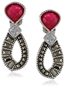 """Judith Jack """"Red Flamenco"""" Sterling Silver, Marcasite and Ruby Onyx Mini Drop Earrings"""