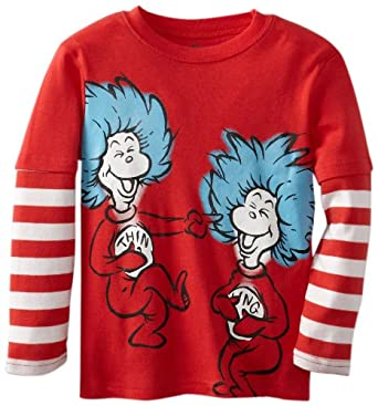 Bumkins Boys 2-7 Dr. Seuss Long Sleeve Thing 1 Thing 2 Graphic Toddler Tee, Red Stripe, 4T