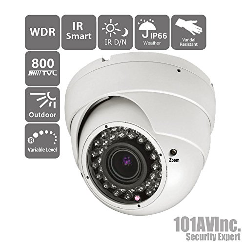 "101Av 800Tvl Dome Camera 1/3"" Sony Effio-E Dsp 960H Ccd 2.8-12Mm Varifocal Lens 100Ft Ir Range 36Pcs Infrared Leds Wdr Wide Dynamic Range Osd Control Weatherproof Vandal Proof Metal Housing High Resolution Color Wide Angle View Day Night Vision For Cctv D front-783474"