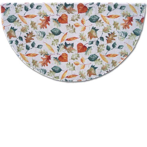 Autumn Leaves Printed Nylon Half Round Fireplace Hearth Rug