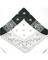 PAISLEY BANDANA foulard duo 1 x noir 1 x blanc