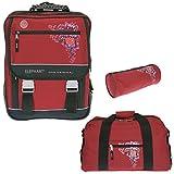 3er SET ELEPHANT HEART TATTOO Schulrucksack + Sporttasche + Mäppchen NEU * Ranzen * Schultasche * ROT / Red *