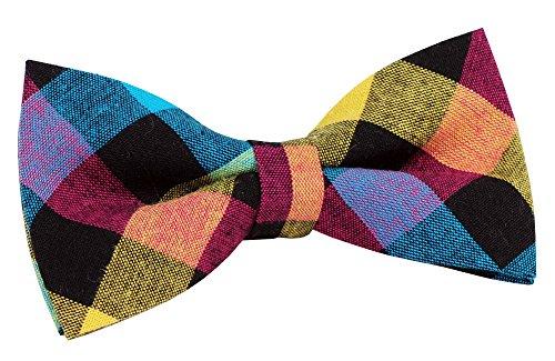 "St34 Brand New Multi-Colored Plaid Cotton Boys Tuxedo Bow Tie Bb-905(4.1""X 2.1"")"