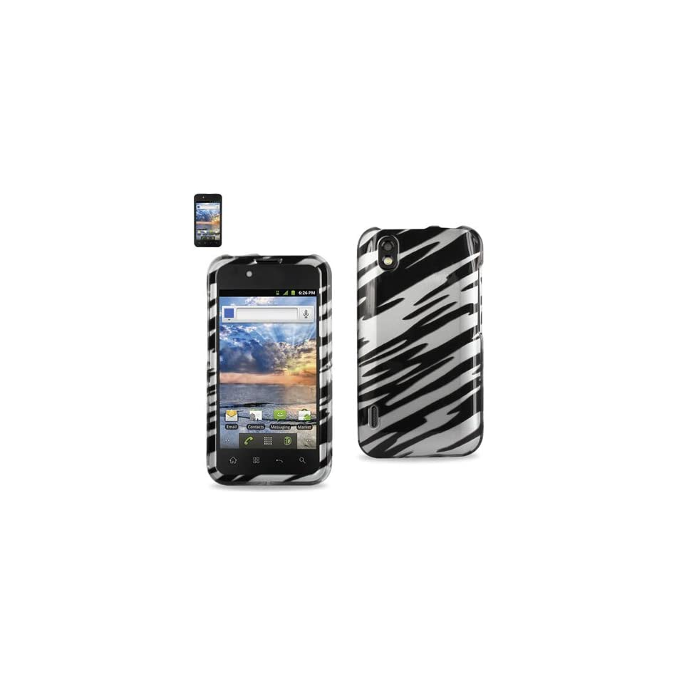Reiko 2DPC LGLS855 0164 Premium Durable Snap On Protective Case for LG Marguee LS855   1 Pack   Retail Packaging   Black/White