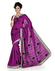 Designersareez Women Bhagalpuri Silk Embroidered Dark Magenta Saree With Unstitched Blouse(645)