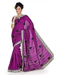 Designersareez Women Bhagalpuri Silk Embroidered Dark Magenta Saree With Unstitched Blouse(645)
