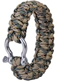 LayOPO Camping Survival Bracelet Adjustable Paracord Wristband Plastic Buckle with Carabiner