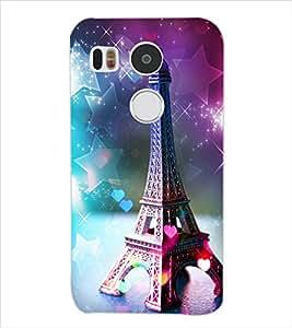 Fuson Colorful Eiffel Tower Pattern Back Case Cover for LG NEXUS 5X - D3854