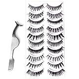 Goldrose 10 Different Styles 10 Pairs Long Natural Thick Makeup False Eyelashes Fake Eye Lash Extension Handmade Soft