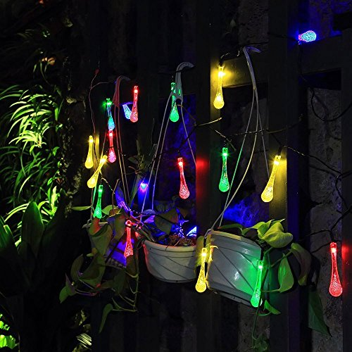 Thanksgiving String Lights Outdoor : Solar Christmas String Lights,easyDecor 30 LED Water Drop 21ft Multi-color 8Mode Waterproof ...