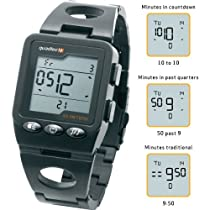 Quadtec Digital Watch With Black Stainless Steel Case And Strap