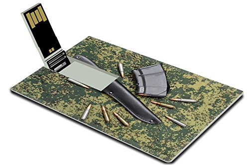 Liili 32GB USB Flash Drive 2.0 Memory Stick Credit Card Size IMAGE ID: 25121580 Military knife in black leather sheath magazine and cartridges on digital camouflage backround (Micro G Pen Cartridge compare prices)