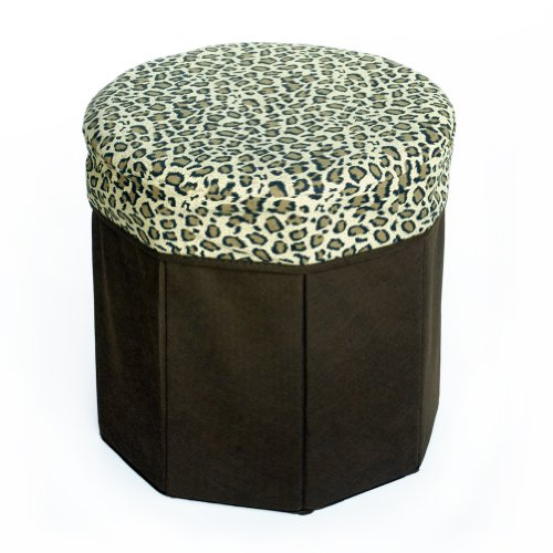 [Animal Leopard] Round Foldable Storage Ottoman / Storage Boxes / Storage Seat