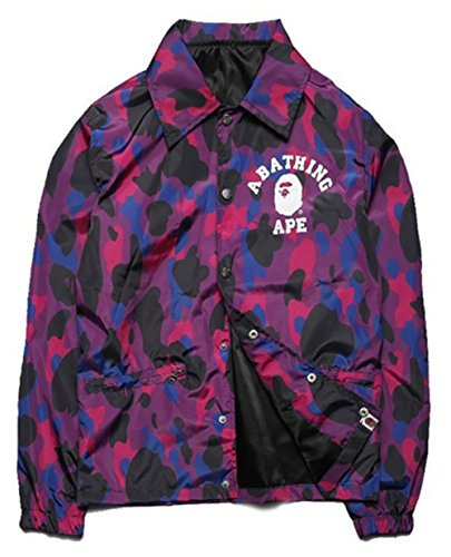 2017 Men Harajuku Purple Camouflage Jacket Aape Shark hoodie Jackets Softshell Camo palace jacket clothing thin Windbreaker (Purple, L)