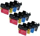 12X MULTIPACK LC1100/LC980 FOR BROTHER DCP-165C - BROTHER COMPATIBLE INK CARTRIDGES ALSO COMPATIBLE WITH BROTHER DCP-145C, DCP-165C, DCP-385C, DCP-535CN, DCP-585CW, DCP-6690CN, DCP-6690CW, MFC-290C, MFC-490CN, MFC-490CW, MFC-670CD, MFC-670CDW, MFC-790CW,