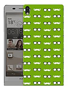 "Humor Gang Glasses And Moustaches - Green Printed Designer Mobile Back Cover For ""Huawei Acsend P6"" (3D, Matte, Premium Quality Snap On Case)"