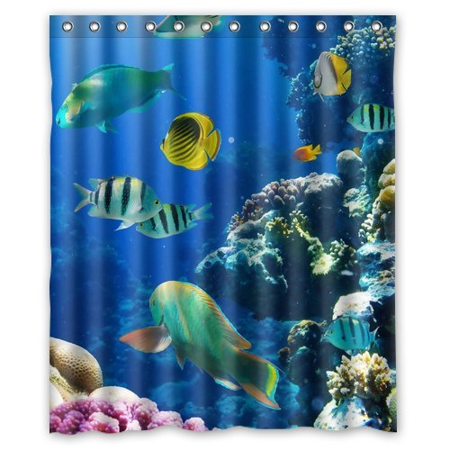 Custom Unique Design Ocean Sea Swimming Fish Waterproof Fabric Shower Curtain, 72 By 60-Inch front-638086