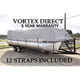 NEW GREY 22 FT VORTEX ULTRA 5 YEAR CANVAS PONTOON/DECK BOAT COVER, ELASTIC, STRAP SYSTEM, FITS 20'1