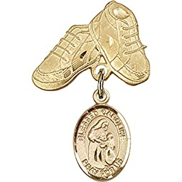 Gold Filled Baby Badge with Blessed Caroline Gerhardinger Charm and Baby Boots Pin 1 X 5/8 inches